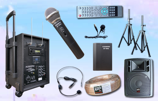 e1 portable wiireless auderpro ap909pa Bluetooth dvd usb vhf sound system pa1 speaker pasif ap122 12 inch