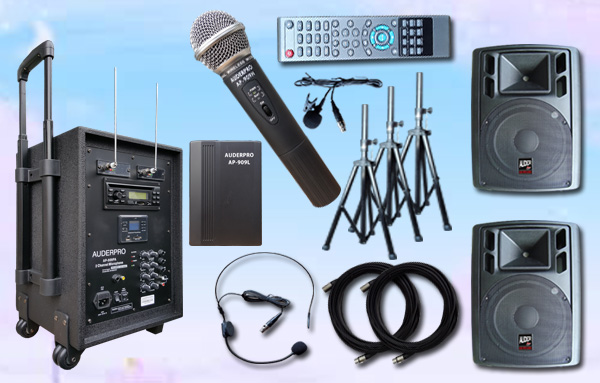 e3 portable wiireless auderpro ap909pa bluetooth dvd usb vhf sound system pa 2 speaker aktif ap112a 12 inch