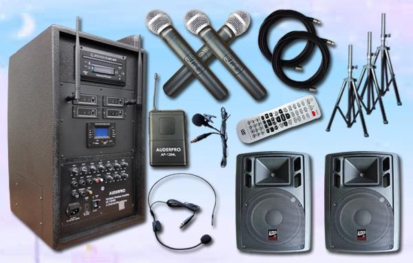 e7 portable wiireless auderpro ap1284pa bluetooth dvd usb 2 speaker aktif ap112a 12 inch