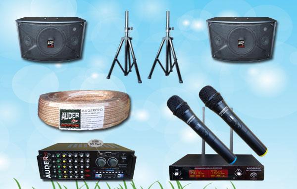 paket karaoke h auderpro mixer amplifier speaker subwoofer mic wireless bmb