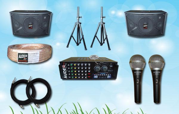 paket karaoke k auderpro mixer amplifier speaker power mic kabel sound system