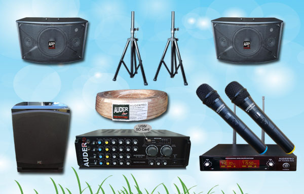 paket karaoke l auderpro distributor alat mixer amplifier speaker subwoofer mic wireless