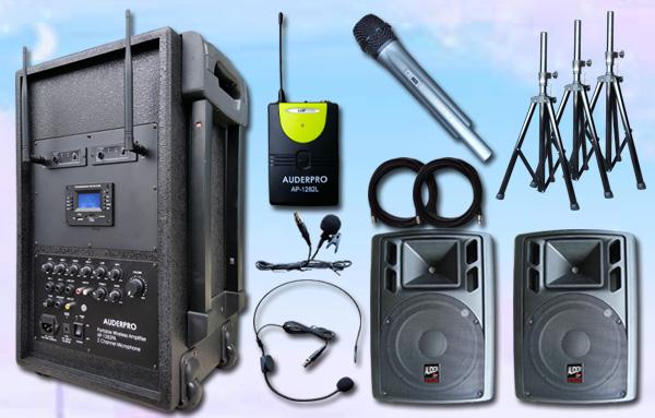 e11 portable wiireless auderpro ap1282pa-b bluetooth usb 2 speaker aktif ap112a 12 inch