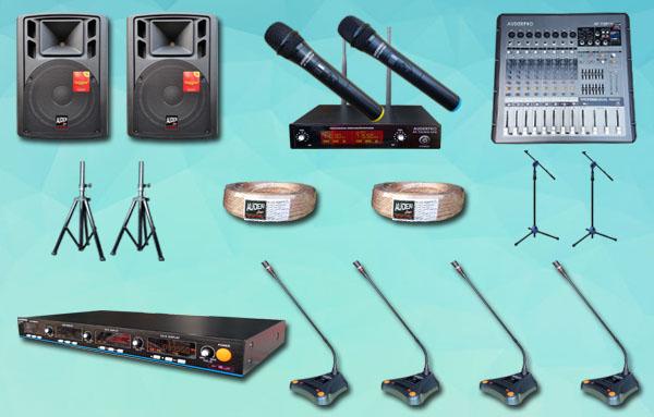 mic meja wireless auderpro K7 4 mic + sound system 15 inch